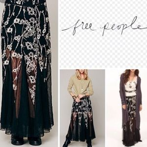 Free People Black Maxi Skirt w Flower Embroidery